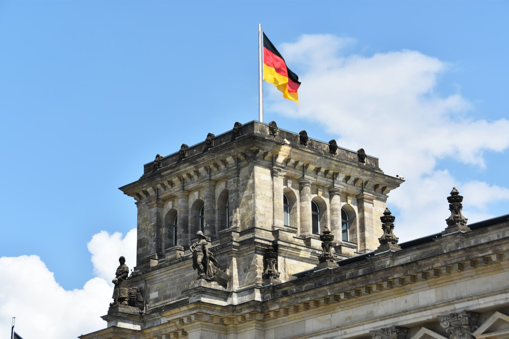 Reichstag building with flag