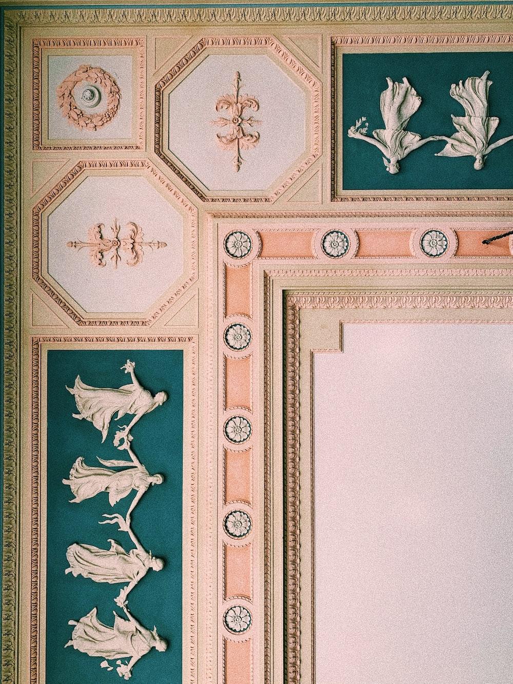 beige and blue cornice wallpaper