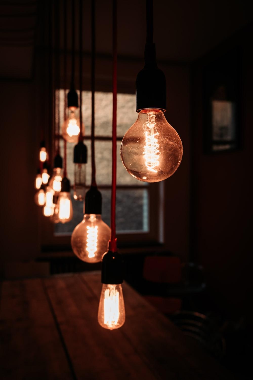 lighted orange pendant lamps