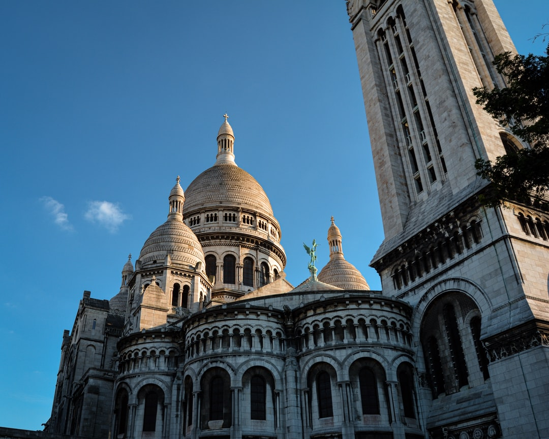Unusual angle from the Sacré Coeur Basilica at sunset.