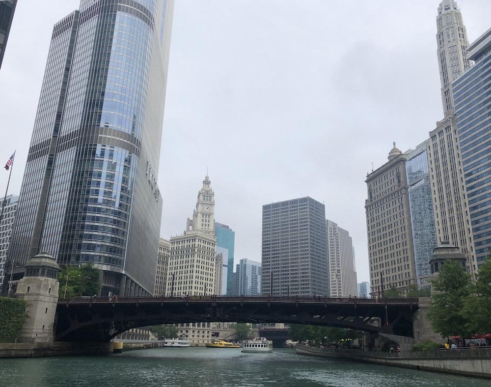 city buildings near brown and gray bridge