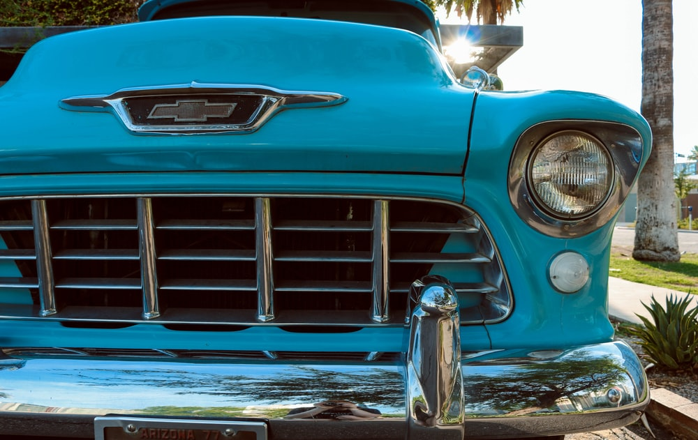 classic blue Chevrolet vehicle