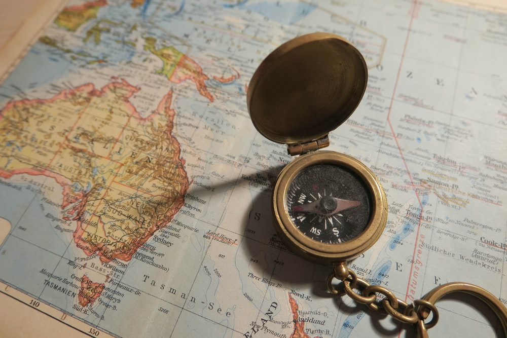 navigation compass on map