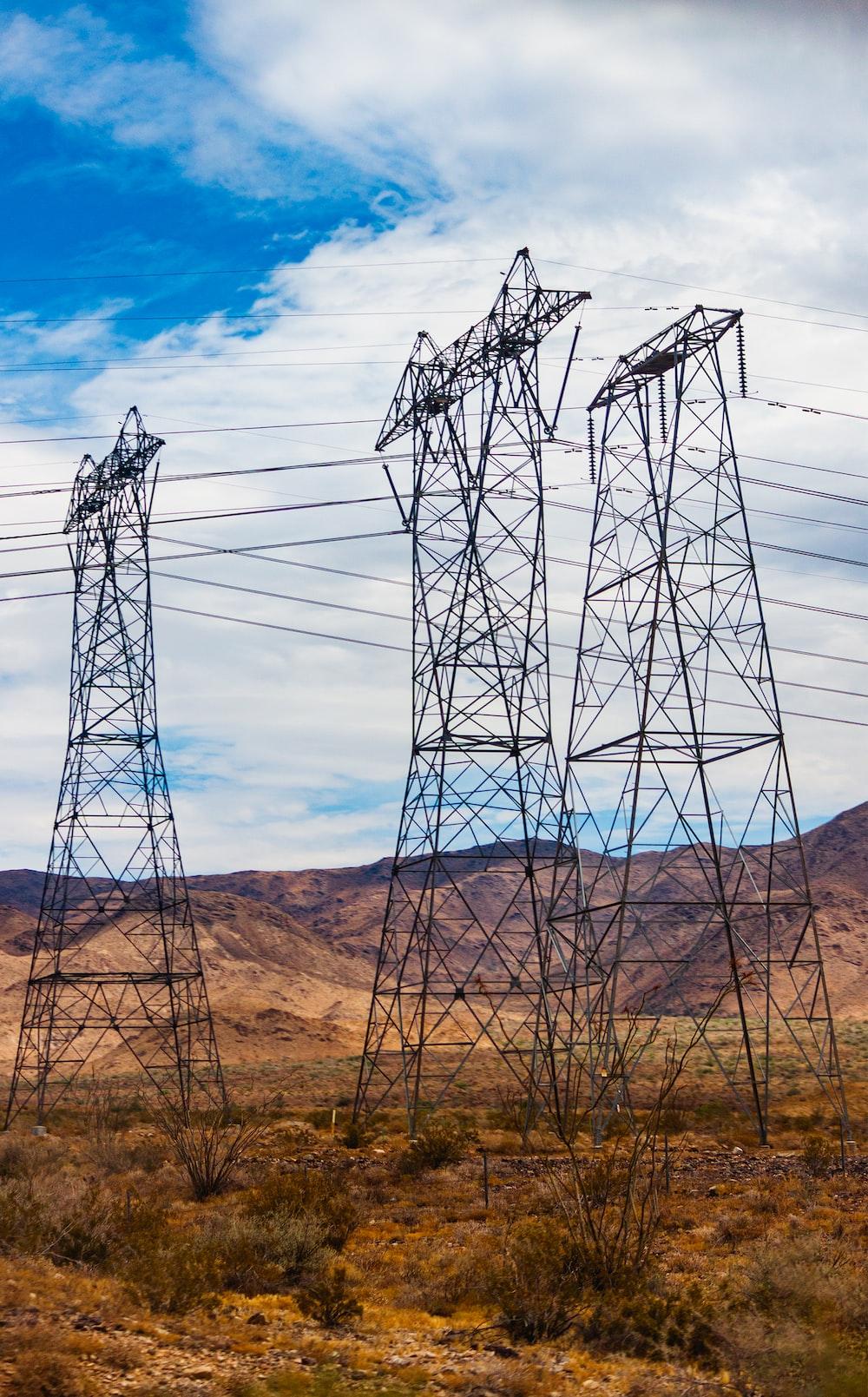 gray metal electric posts