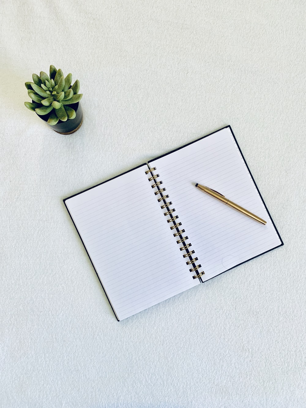 flat-lay photography of a pen on top of a notebook