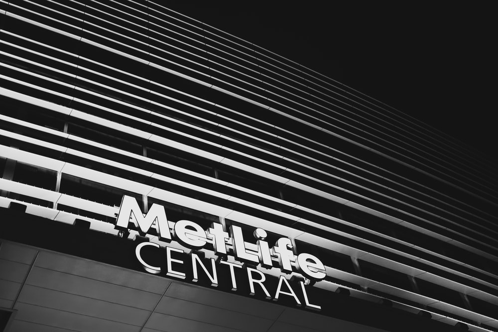 grayscale photography of Met Life Central building