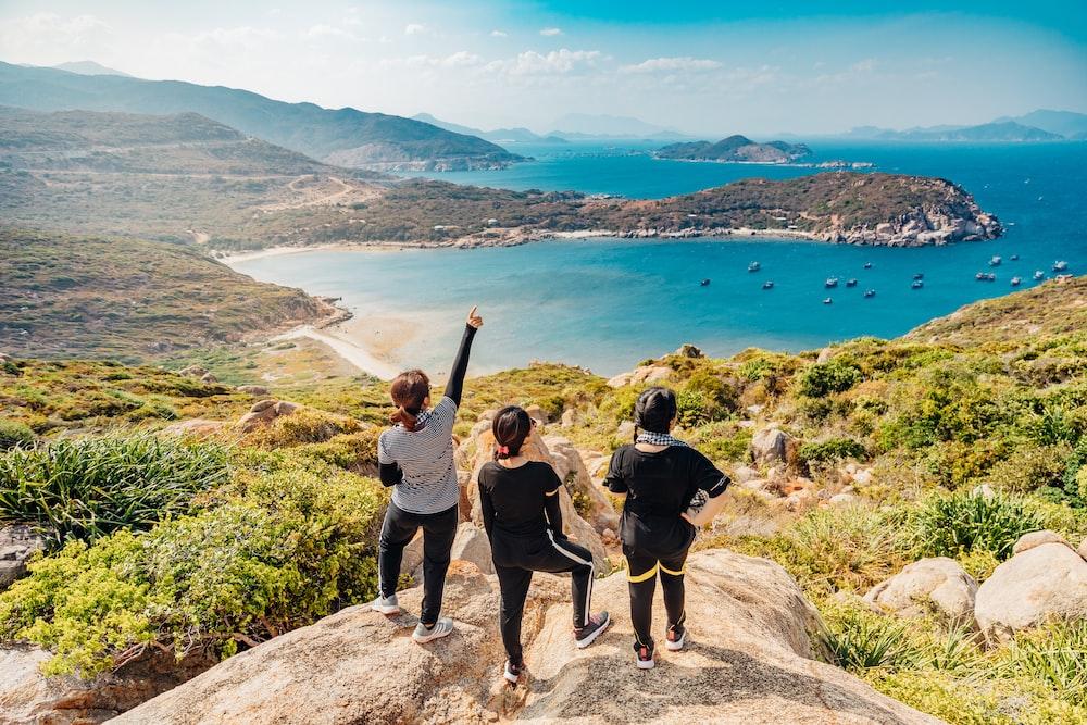 three women on mountain