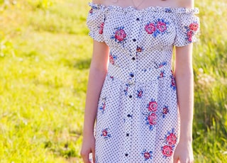 women's blue, red, and white floral off-shoulder dress