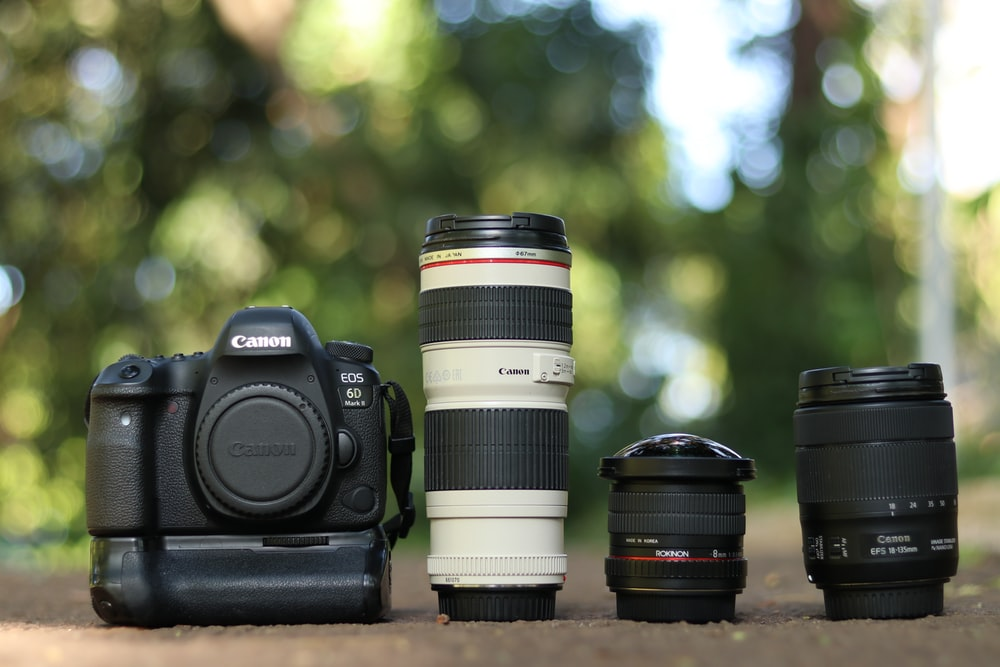 selective focus photography of black and white Canon DSLR camera set