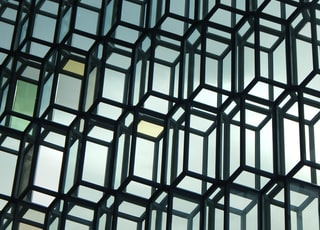 Interior glass facade of the Harpa Concert Hall in Iceland.
