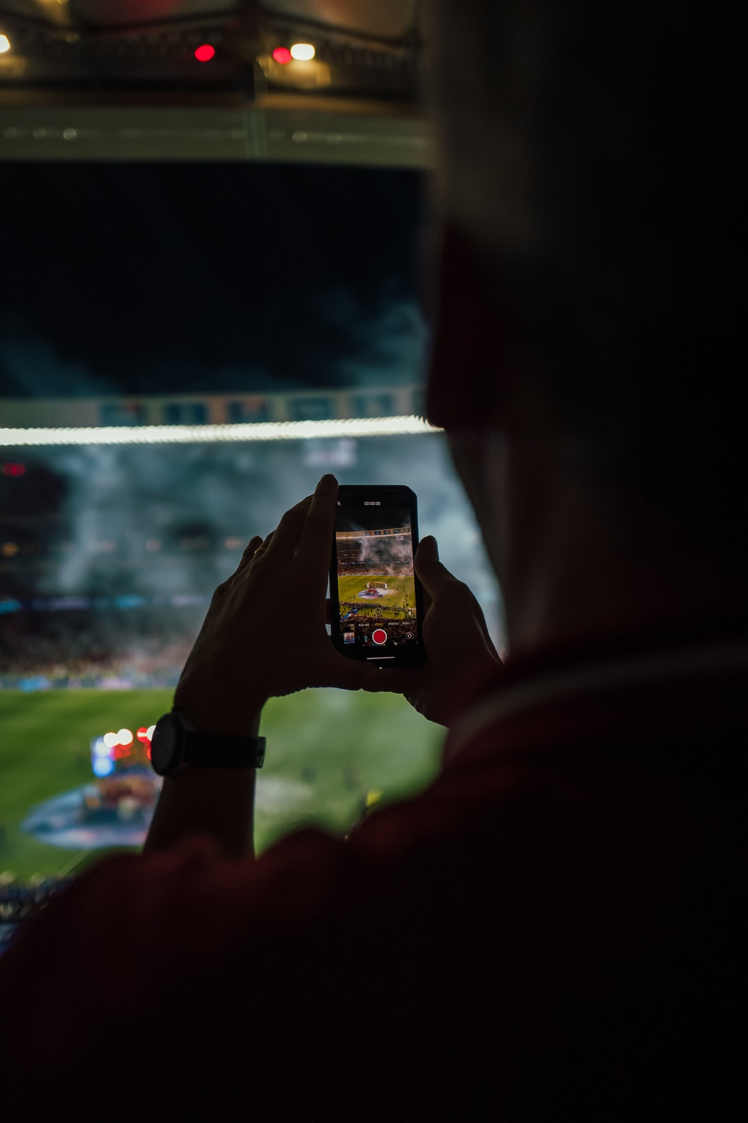 a guy making photos of the celebration after the Champions League final at the Wanda Metropolitano in Madrid
