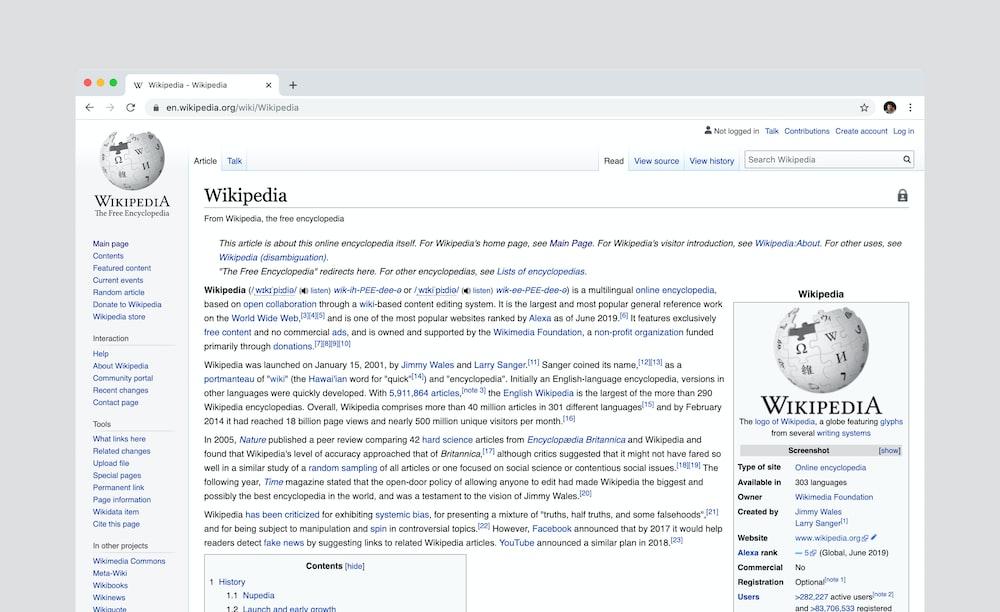 Wikipedia page screenshot