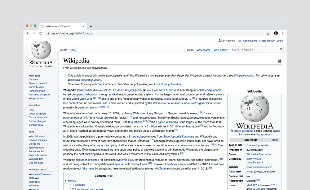 Wikipedia page screenshot