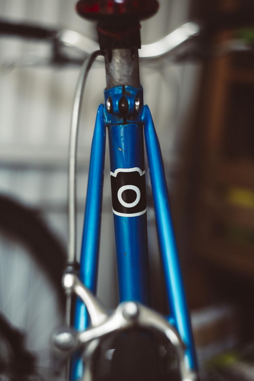 blue bicycle fork
