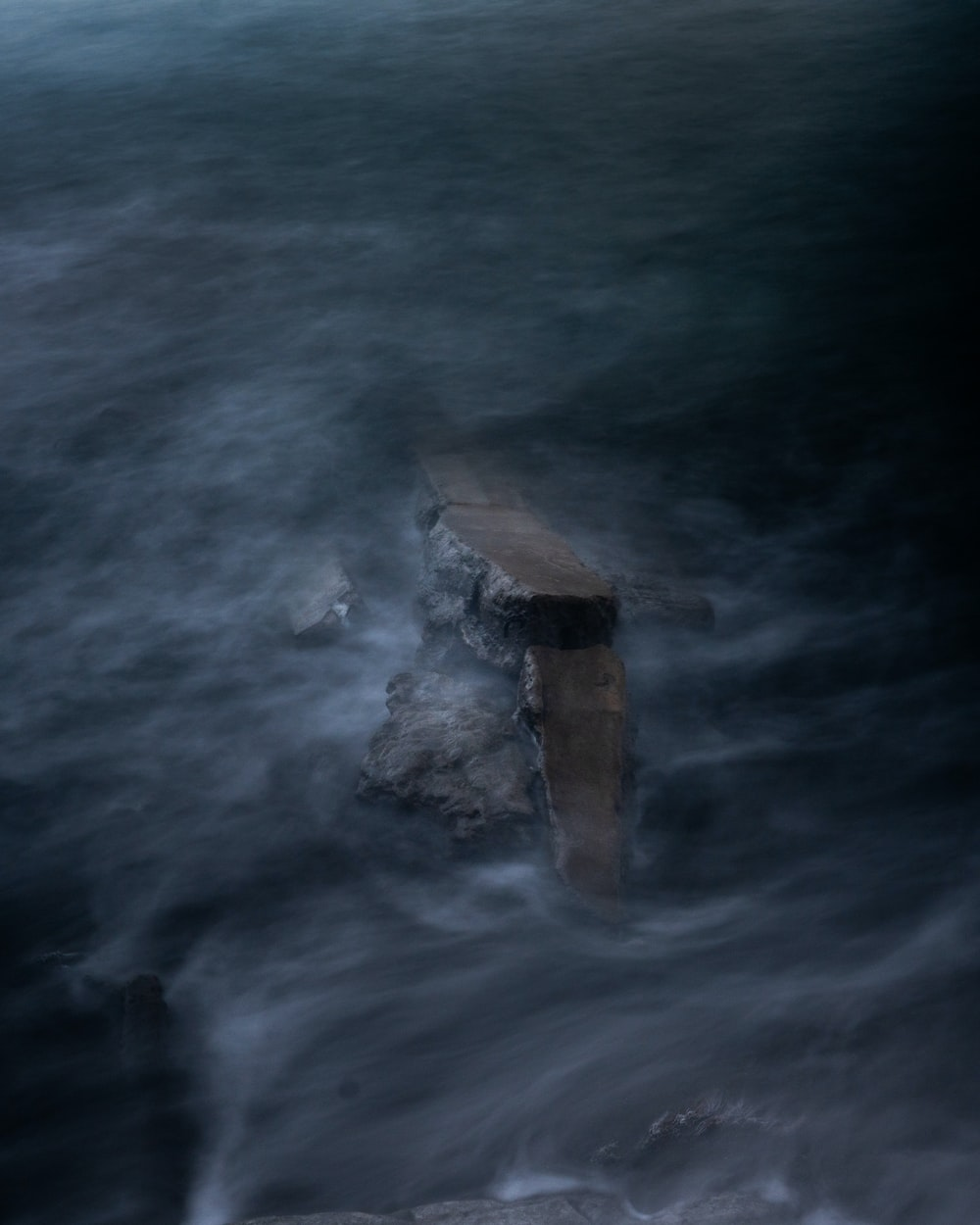 long-exposure photography body of water
