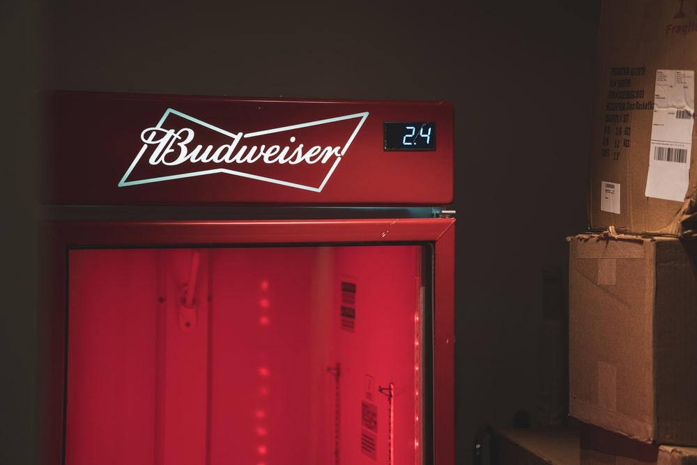closed red Budweiser refrigerator