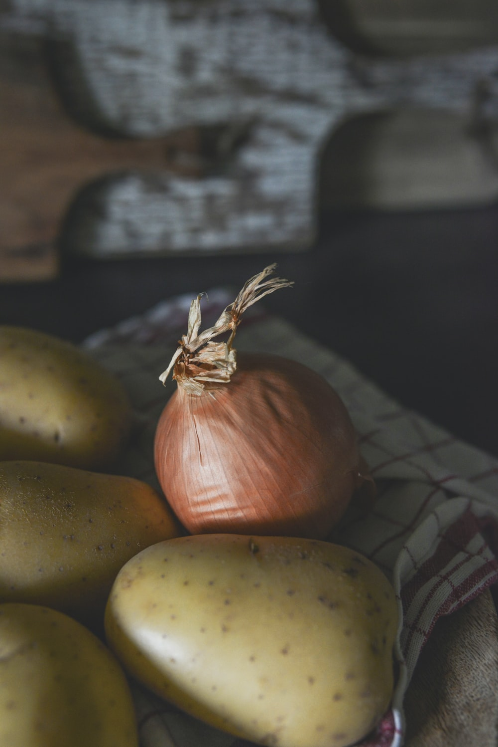 brown onion and brown potatoes