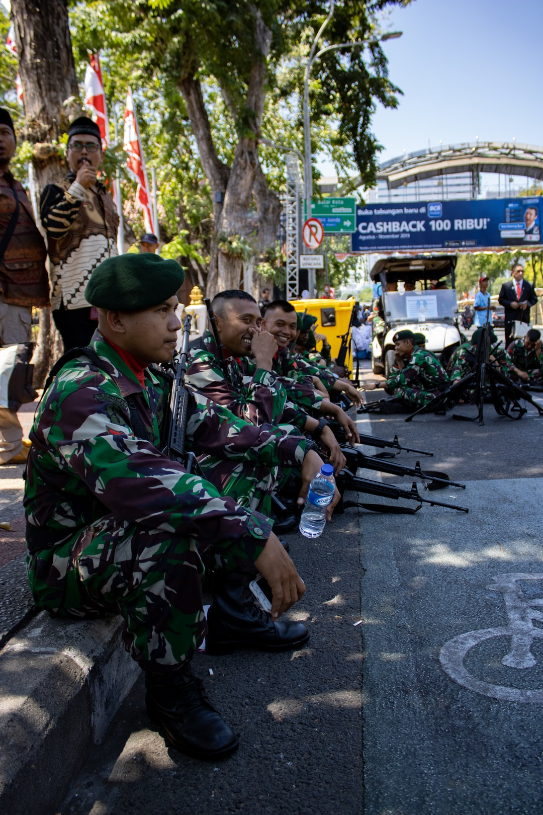 Surabaya, Indonesia - Aug 17, 2019: We are celebrating Independence day of Indonesia. this photo was taken at the ceremonial event in Surabaya.