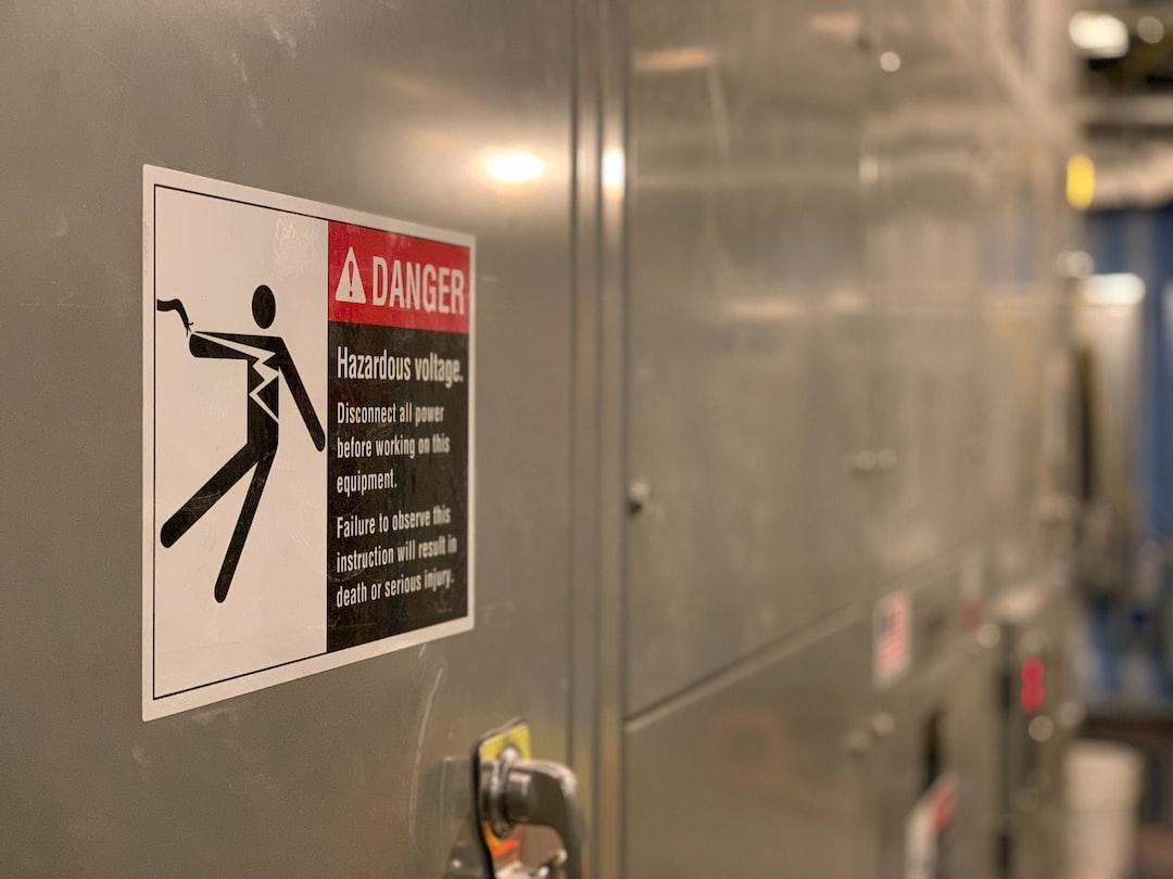 Danger Hazardous Voltage Sign on Electrical Switchgear Equipment