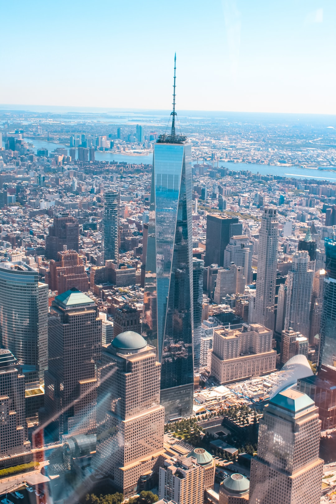 View of the new world trade centre from a helicopter