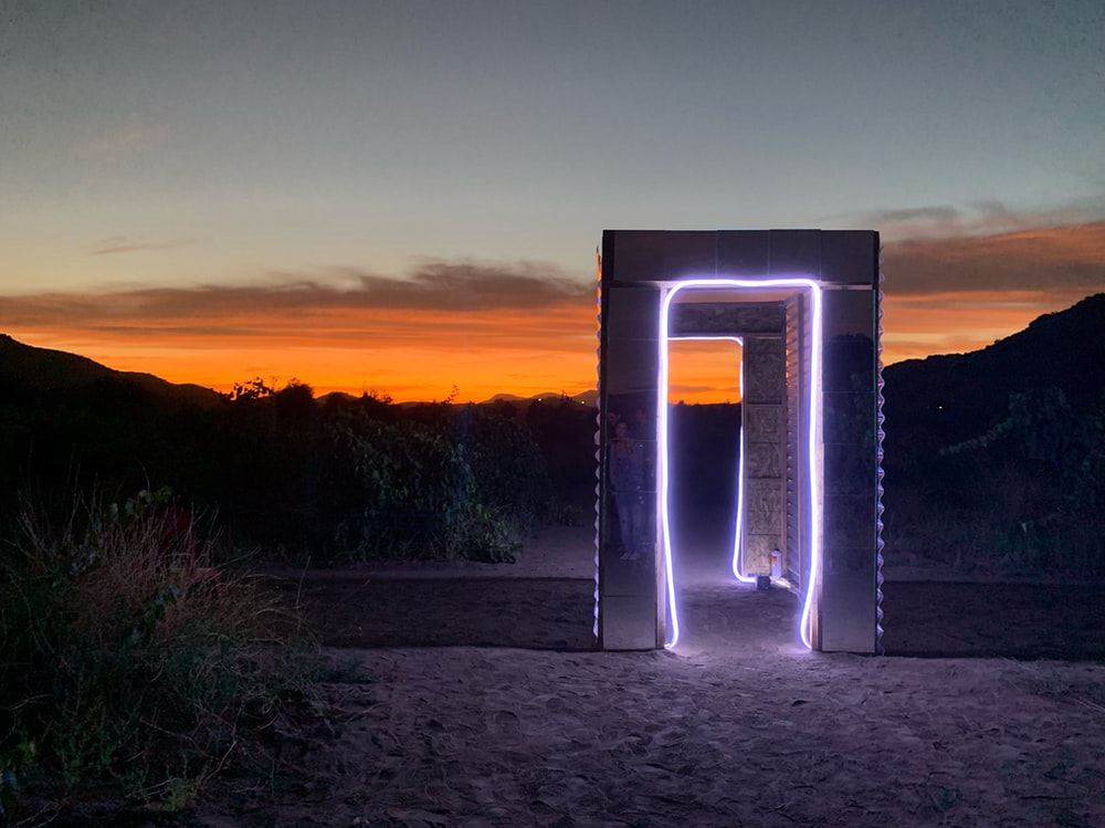 gateway with LED strip during day