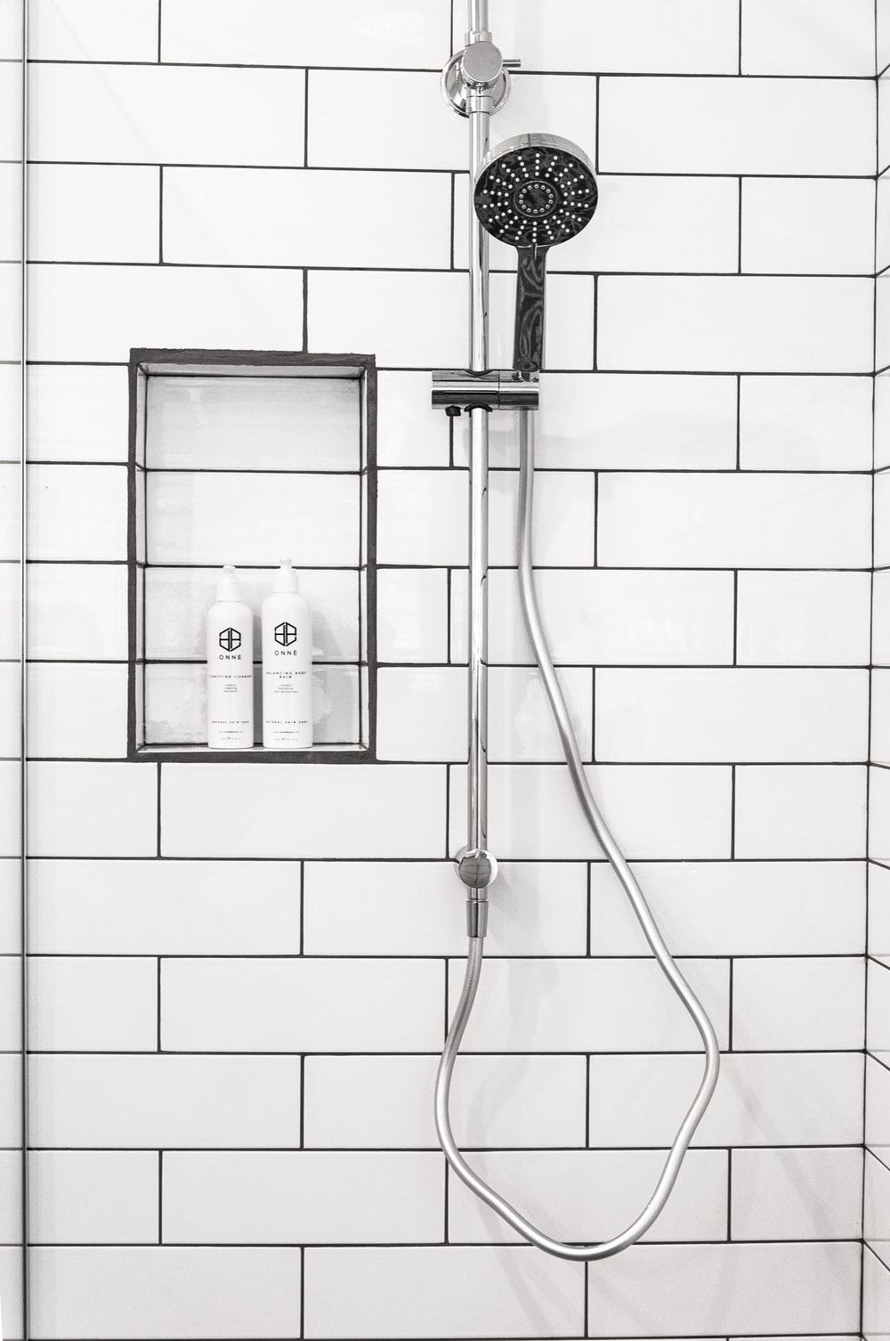 silver-colored shower head