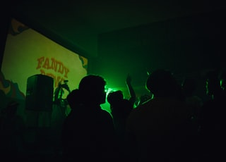 silhouette of people dancing inside green lighted room