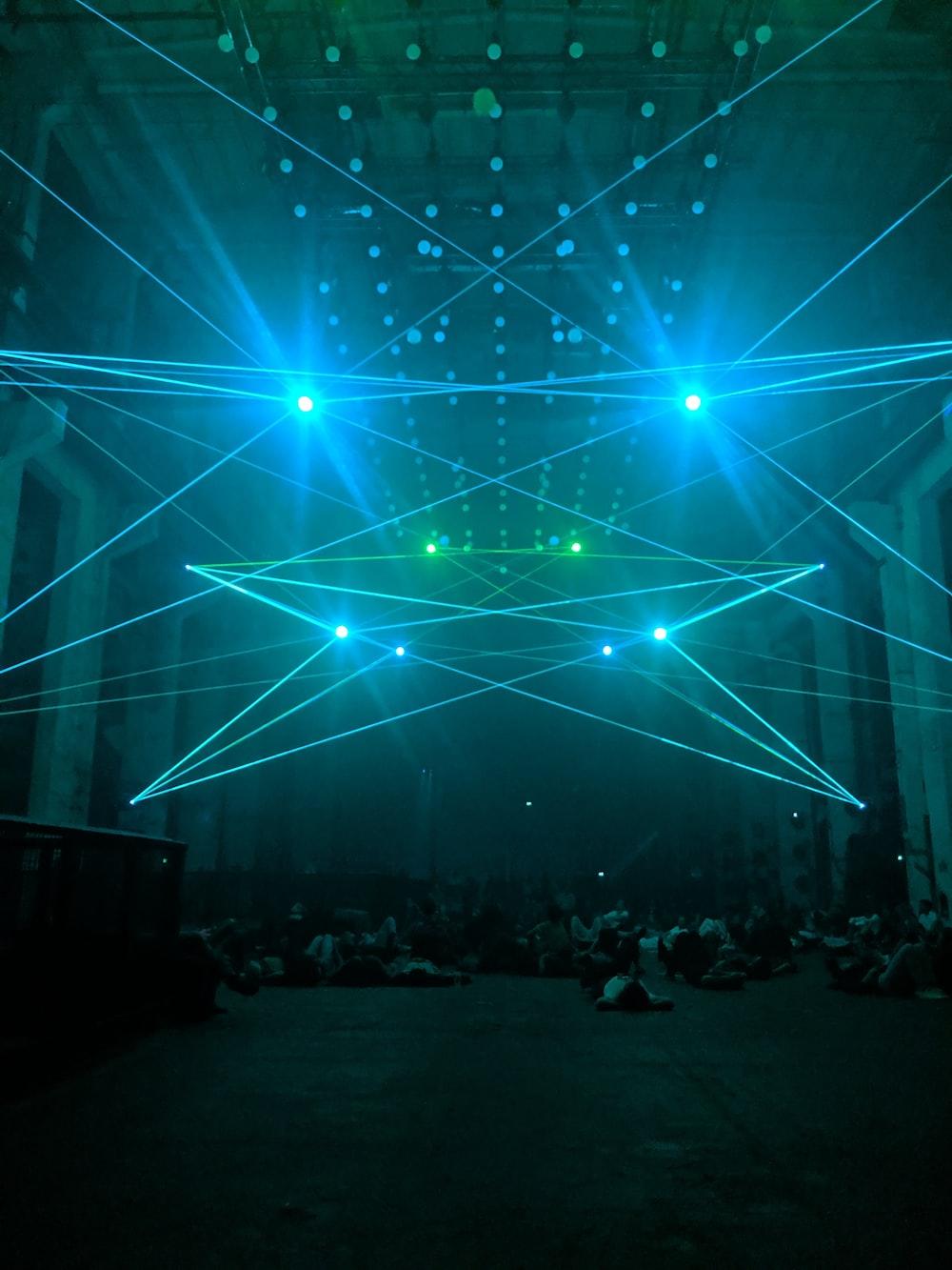turned-on green lights