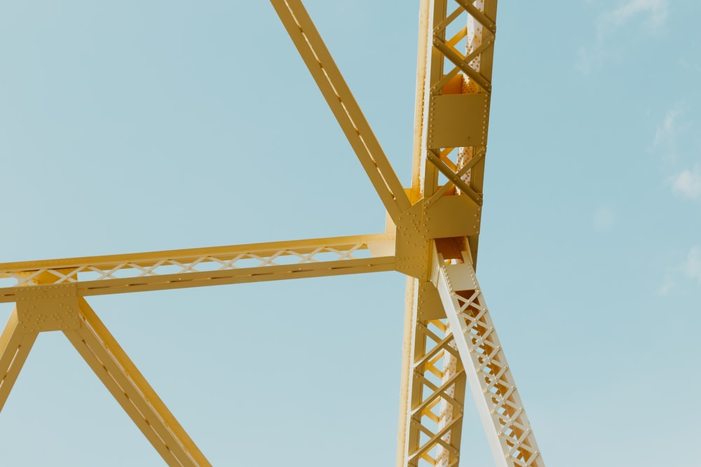 yellow metal frame during day