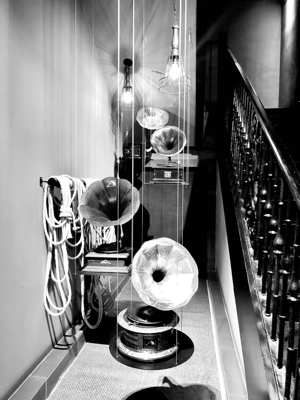 grayscale photography of instrument