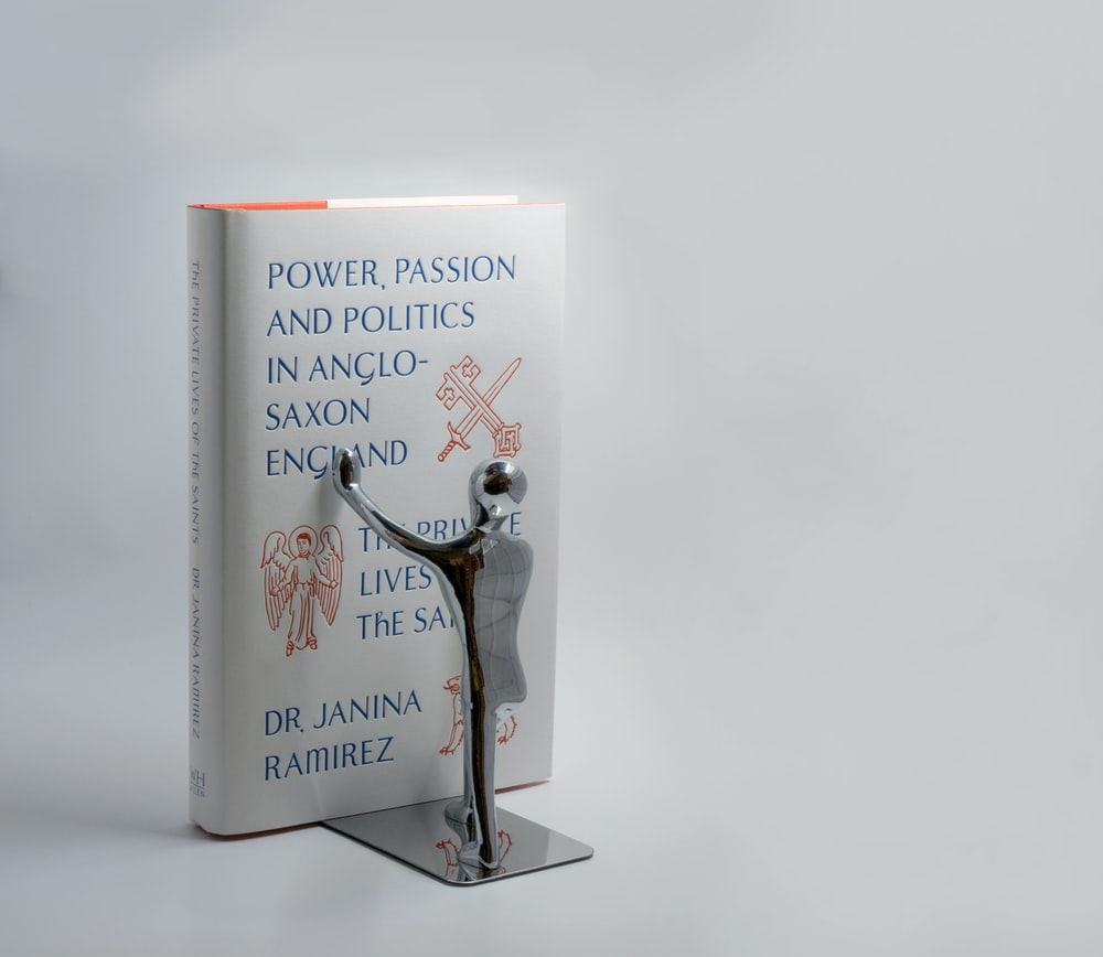 white book on bookend