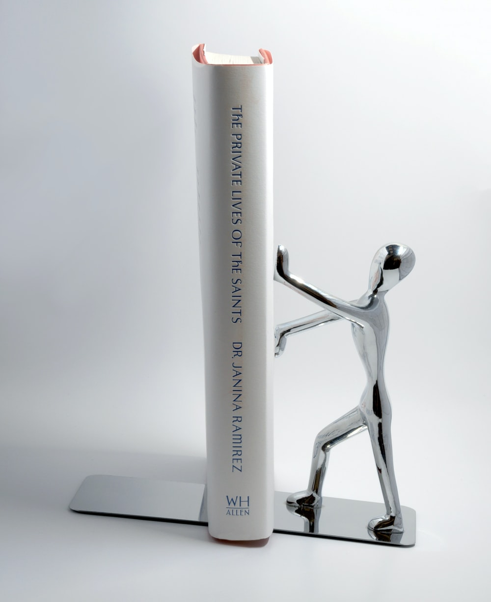 grey stainless steel book end