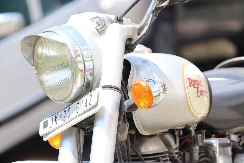 white Royal Enfield motorcycle