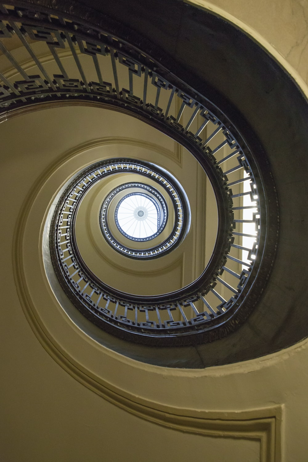 round brown and white stairs