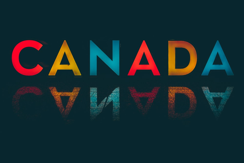 canada text overlay on black background