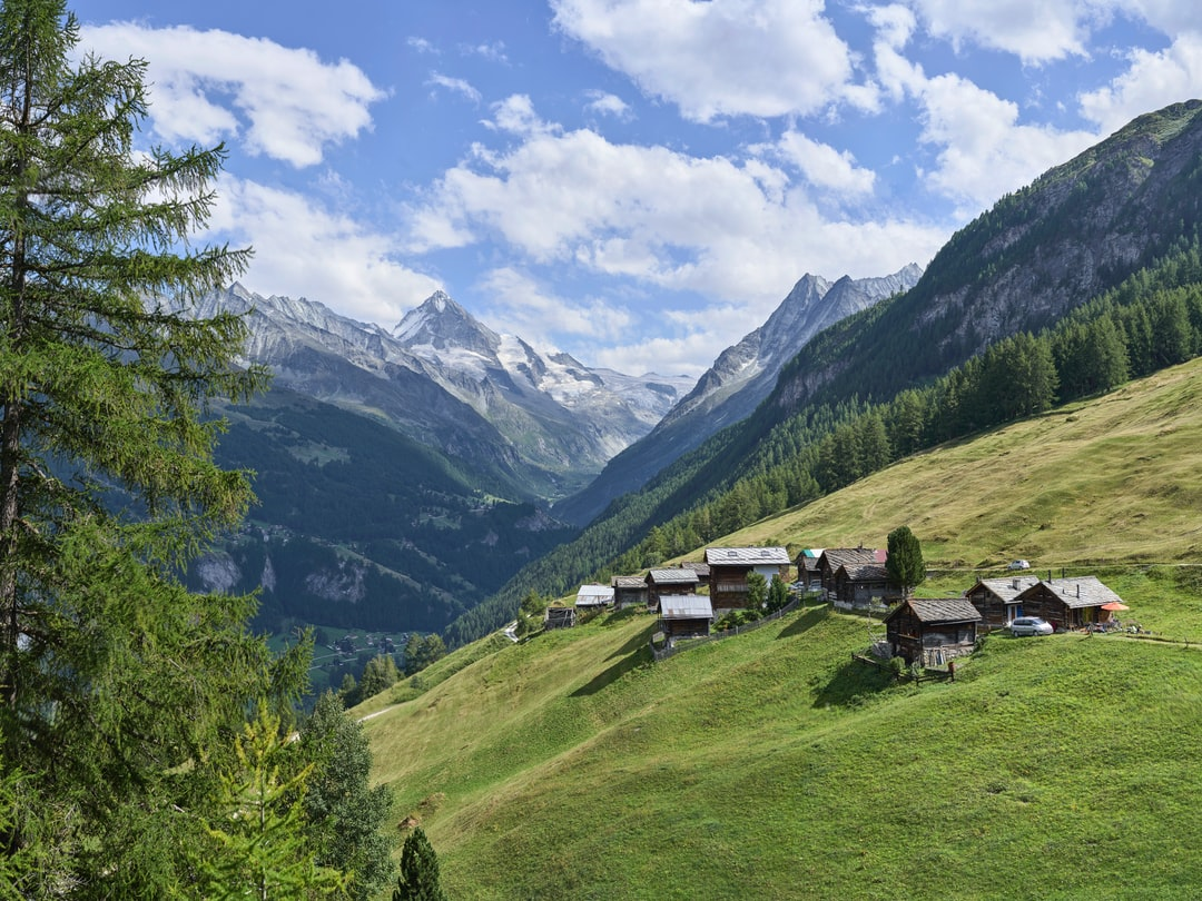 The Alpage of Arbey in Val d'Hérens suspended at the mountain's slope. This village is accessible only from May to October.