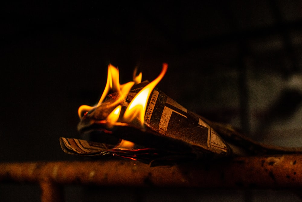 burning paper on railing