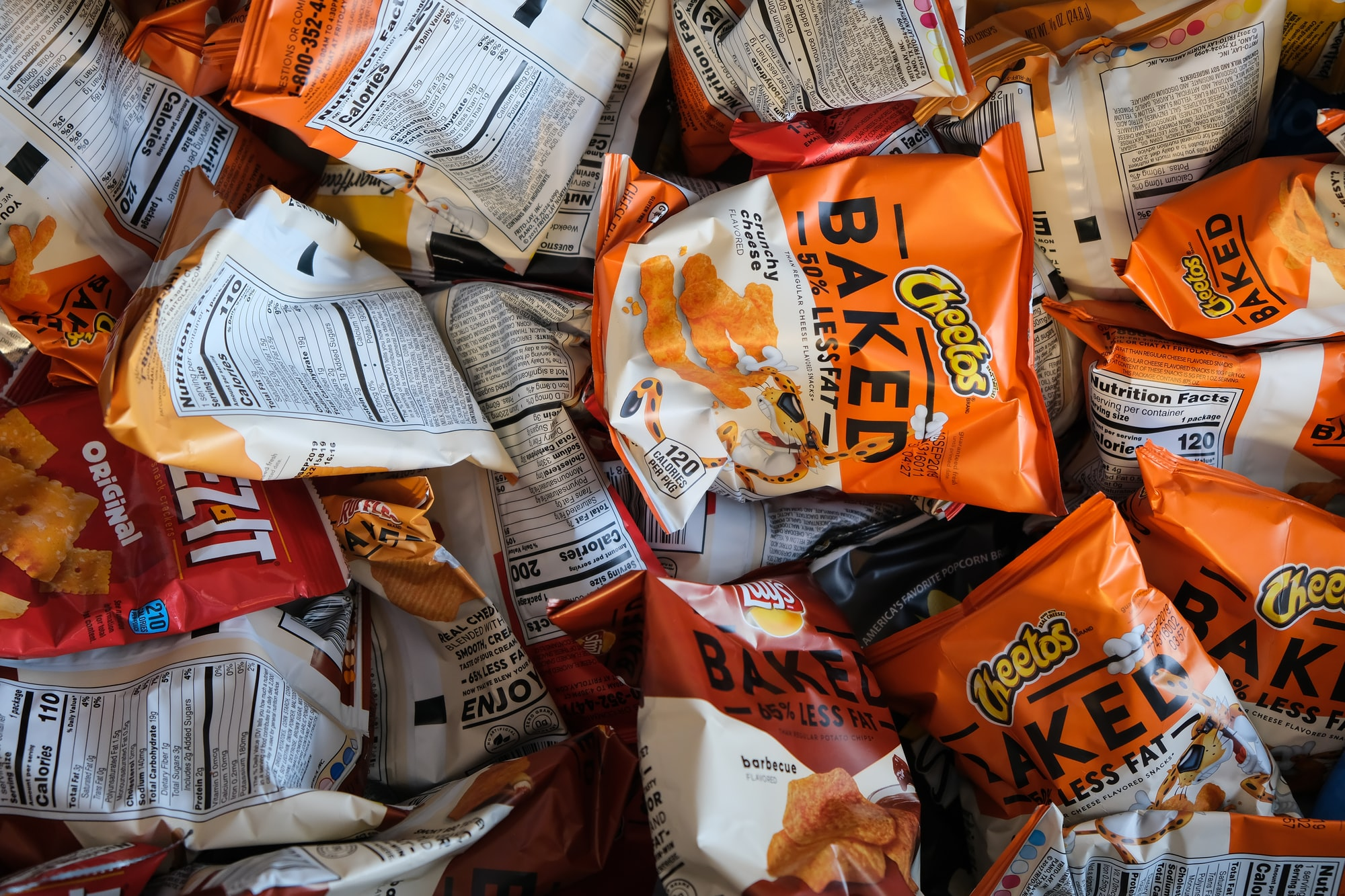 Baked chips and other bags of reduced fat junk food.
