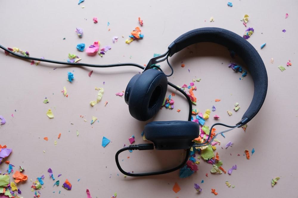 black corded headphones