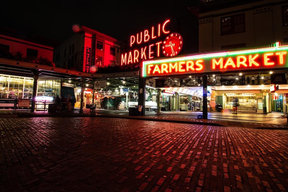 Farmers Market signage at night