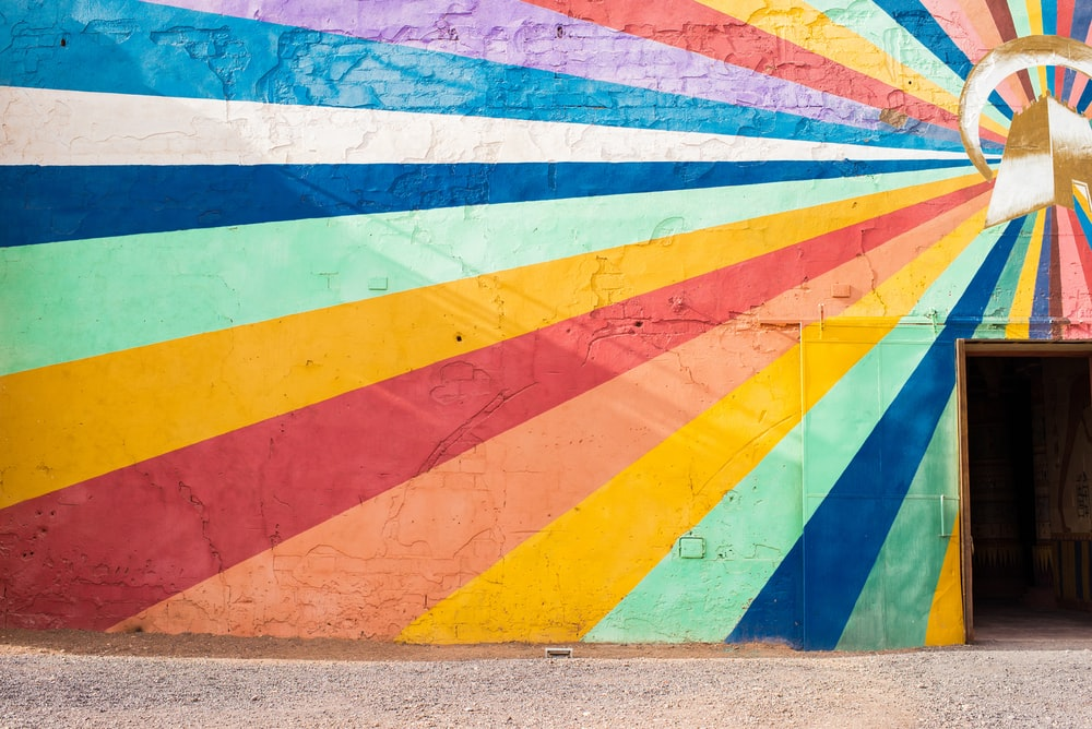 yellow, blue, and red wall art