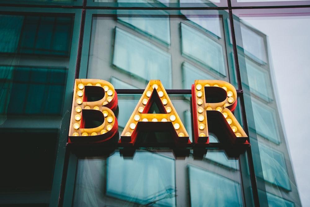 brown bar LED wall sign