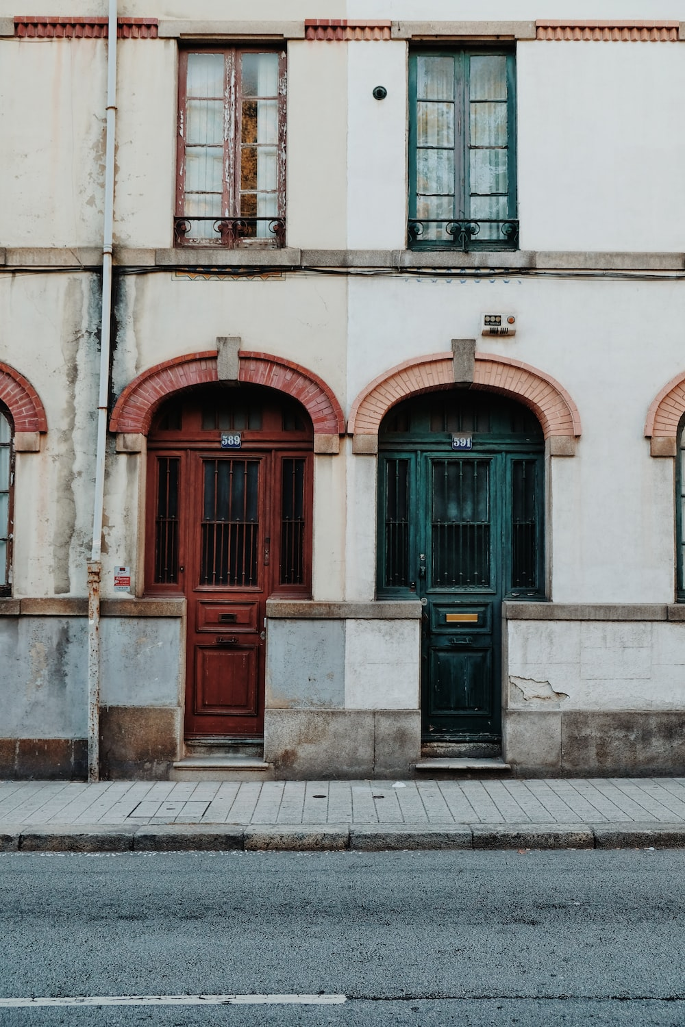 red and green wooden doors