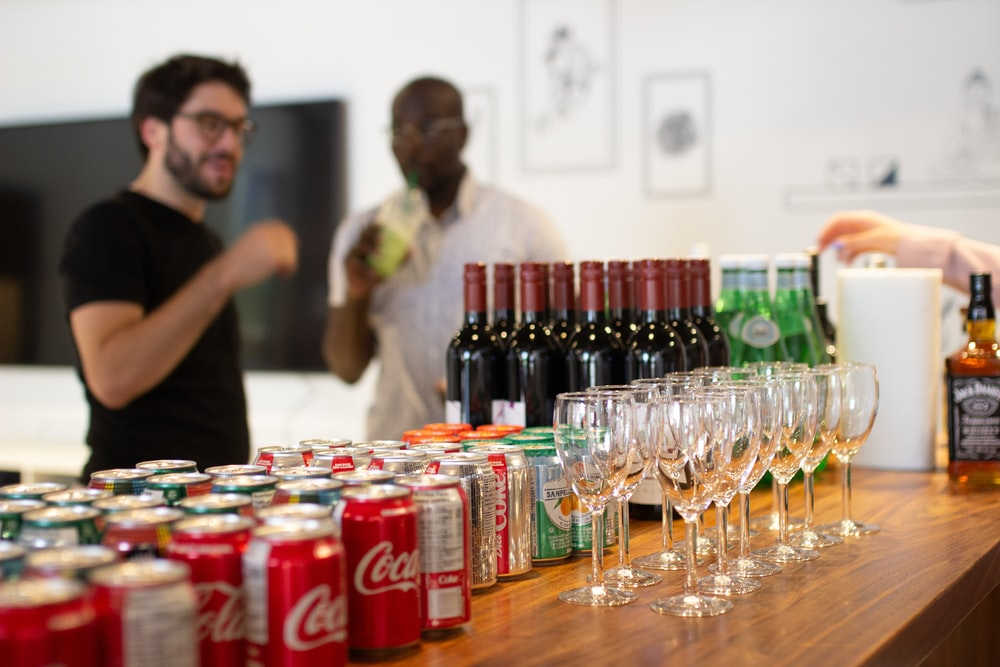 Coca-Cola cans on table