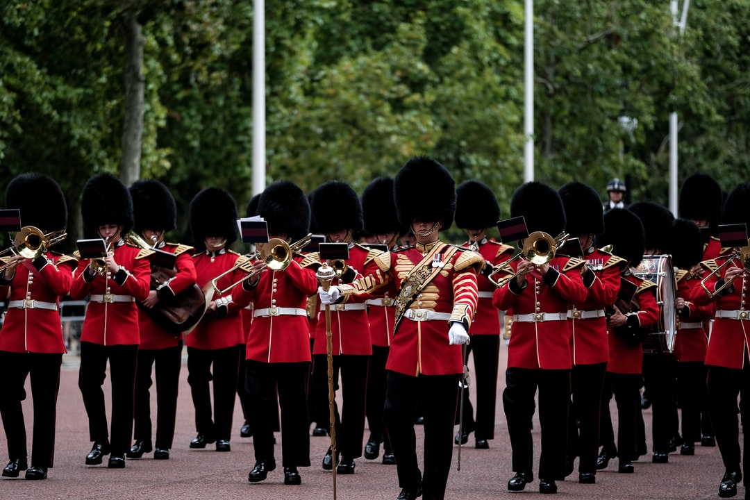 Royal guards marching towards the Buckingham Palace in London.