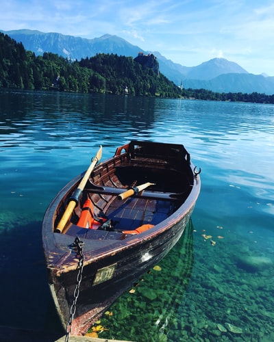 brown wooden boat on body of water near land during daytime