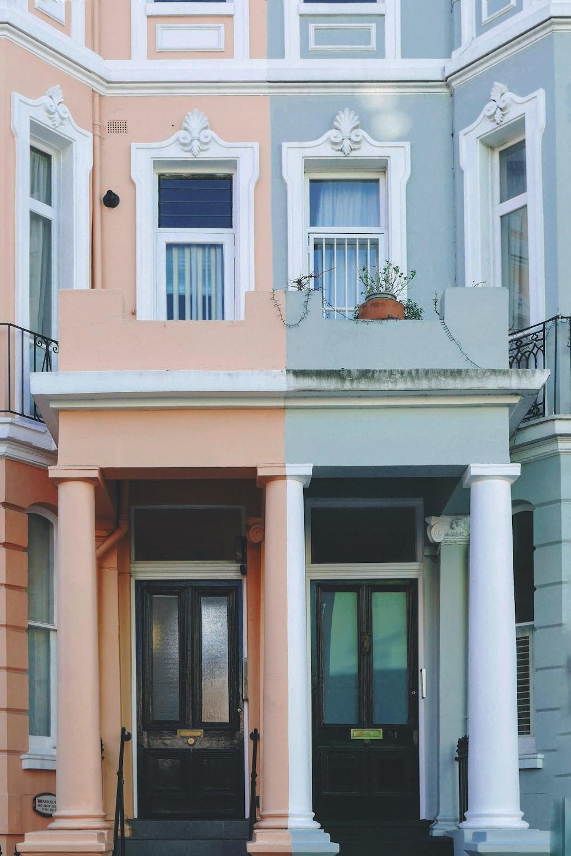 light-blue and orange concrete buildings