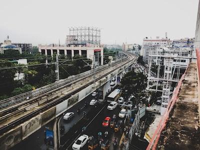 high-angle photography of concrete train railway