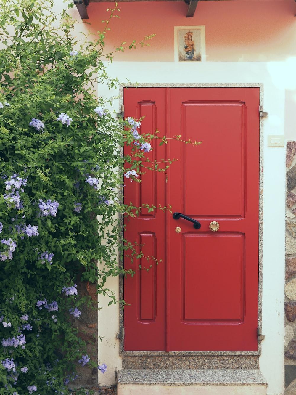 red wooden 2-panel door