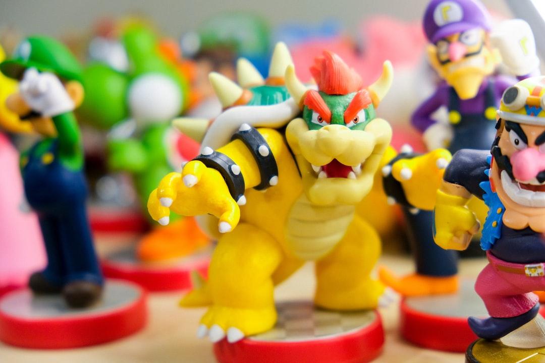 Nintendo amiibo toys of characters of Bowser (King Koopa), Waluigi, Wario, Yoshi, and Luigi